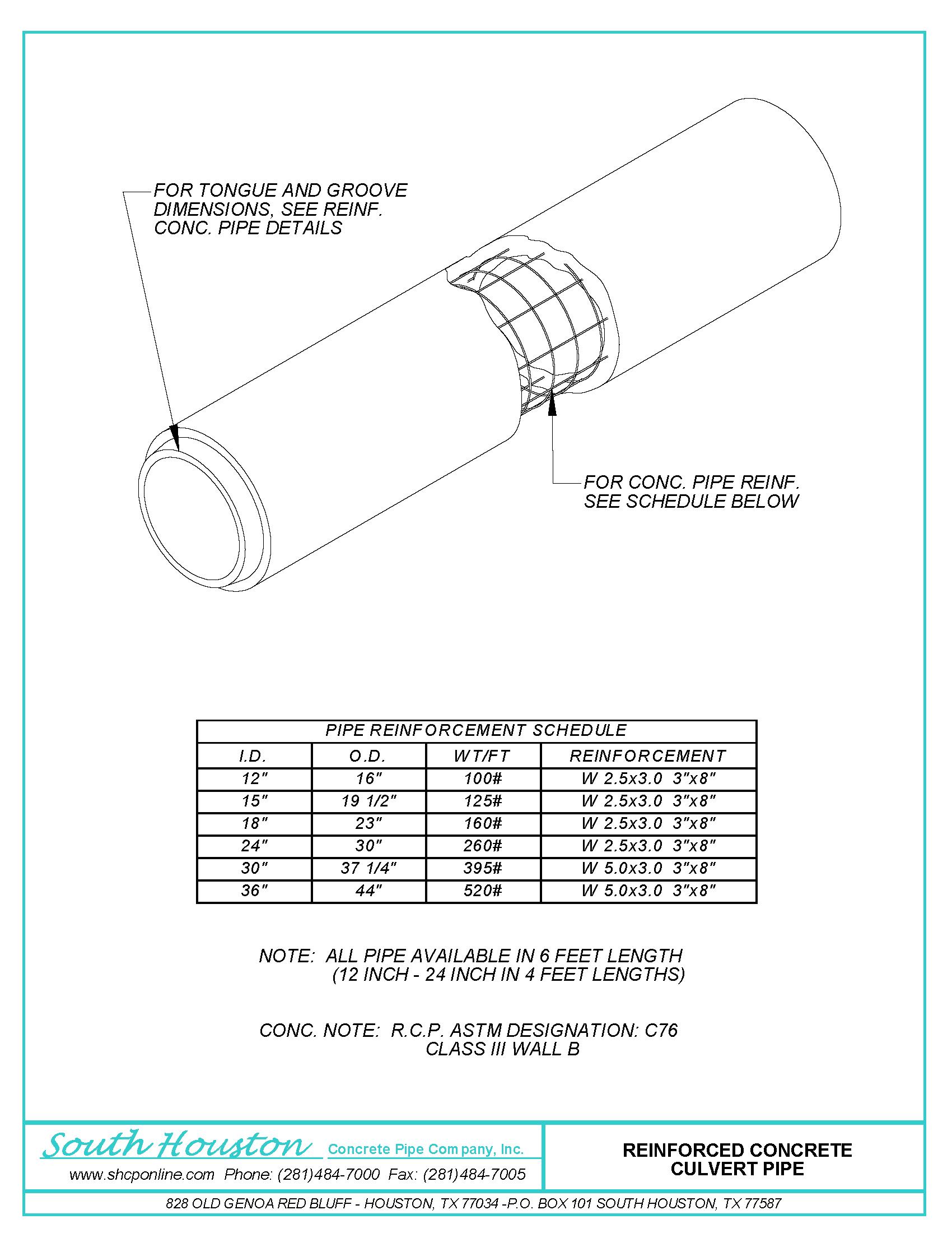 RCP Reinforced Concrete Culvert Pipe - Dim Details | South